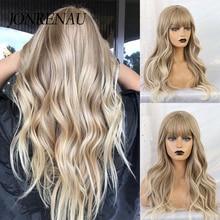 Jonrenau sintético ombre brown misturado perucas louras com franja longa onda natural perucas de festa de cabelo para branco/preto