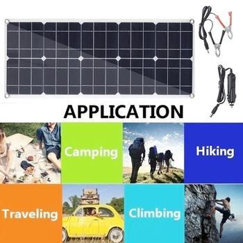 100W 18V USB Mono Solar Panel 12V/5V Monocrystalline Flexible Solar Charger for Car RV Boat Battery Charger Waterproof 53x29cm 2
