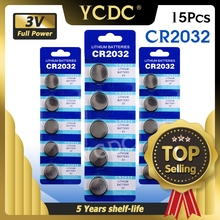 15pcs CR2032 CR 2032 Lithium 3V Button Cell Coin Battery BR2032 DL2032 SB T15 EA2032C ECR2032 L2032 For Watch Motherboard Toys