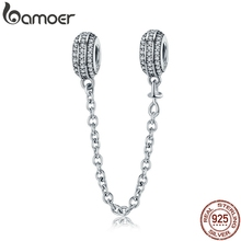 100% 925 Sterling Silver Pave Inspiration Safety Chain, Clear CZ Stopper Charms fit  Charm Bracelet DIY Jewelry SCC812
