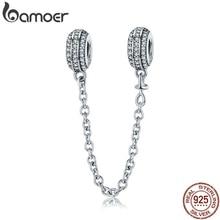 100% plata de ley 925 pavé Inspiration cadena de seguridad, claro CZ Stopper Charms fit Charm Bracelet DIY Jewelry SCC812