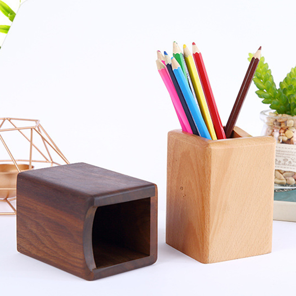 Multi-function Wooden Pen Holder Desk Organizer Makeup Brushes Tools Cup Holder Office School Desktop Storage Case Box New