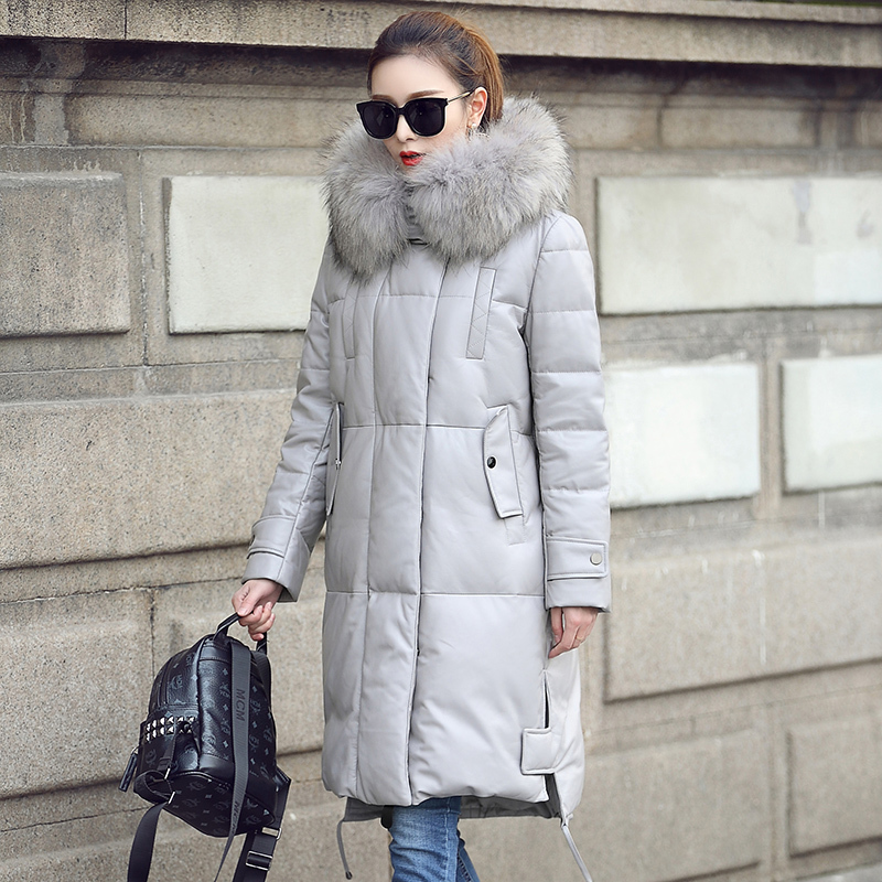 Genuine Leather Jacket Women Winter Duck Down Coat Big Raccoon Fur Collar Hooded Long Sheepskin Coats MF1801 KJ3463