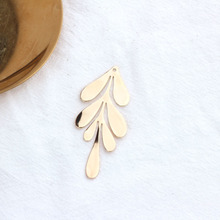 6PCS 27x62MM 24K Gold Color Plated Brass Long Leaf Leaves for DIY Jewelry Making Findings Accessories