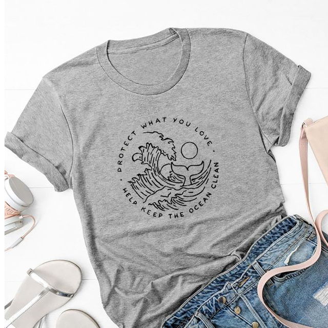 Protect What You Love Graphic Tees Women Help Keep The Ocean Clean T-shirt No Fins No Future Slogan Tshirt Cotton Tops Drop Ship