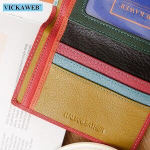Image 5 - VICKAWEB cartera pequeña de piel auténtica para mujer, monedero colorido, monedero con cierre