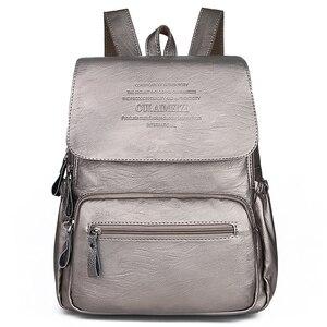 Image 2 - 2019 kobiet skórzane plecaki wysokiej jakości panie Bagpack luksusowy projektant dużej pojemności dorywczo Sac Dos dziewczyna Mochilas