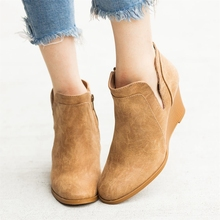 Autumn Winter Boots Classic Ankle PU Leather Boots Winter Suede Slip-on Women Shoes 35-43 NEW Women 2019 Fashion Boots