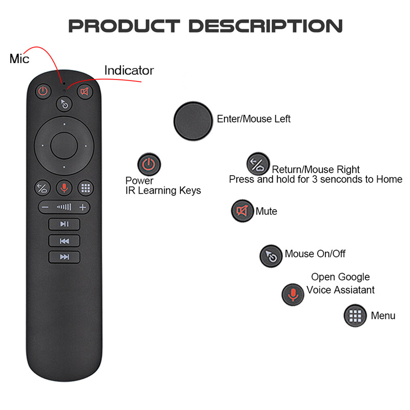 G50S Wireless Fly Air Mouse Gyroscope 2.4G Smart Voice Remote Control G50 for X96 mini H96 MAX X3 PRO Android TV Box vs G20S G30 image