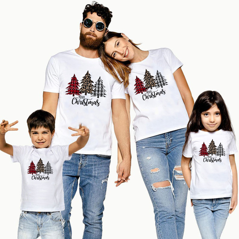 1pc Plaid Leopard Christmas Trees Family Matching Clothes Mommy Father Daughter Son Outfits Baby Girl Boys Holiday Party T Shirt