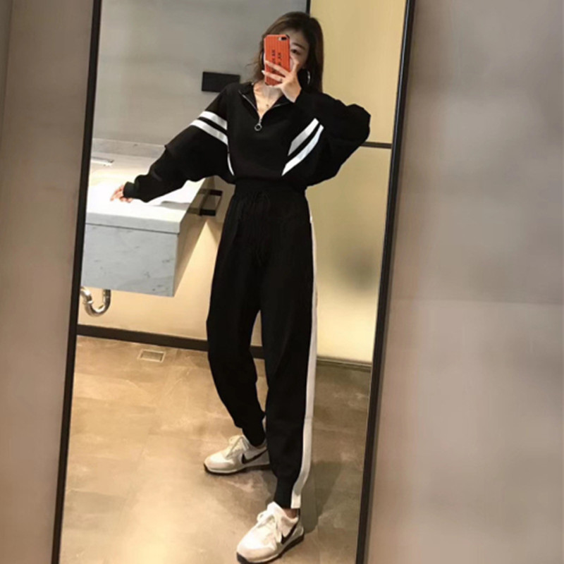 Knitted 2 Pieces Set Women Spring Autumn Tracksuit Sweater Knitting Pants Ladies Fashion Female Harajuku Trousers Suit