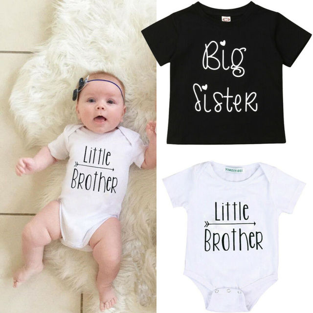 1PCS Family Matching Baby Little Sister Short Sleeve Letters Rompers Bodysuit Big Brother Cotton T-shirt Tops Kids Boys Clothing 2