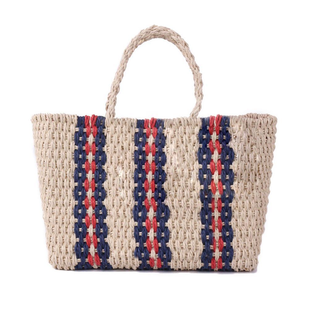 Vintage tissé sac de paille épaule fourre-tout sac à main tricoté Simple papier corde rayures tissé plage sac de rangement pour les femmes casual sacs