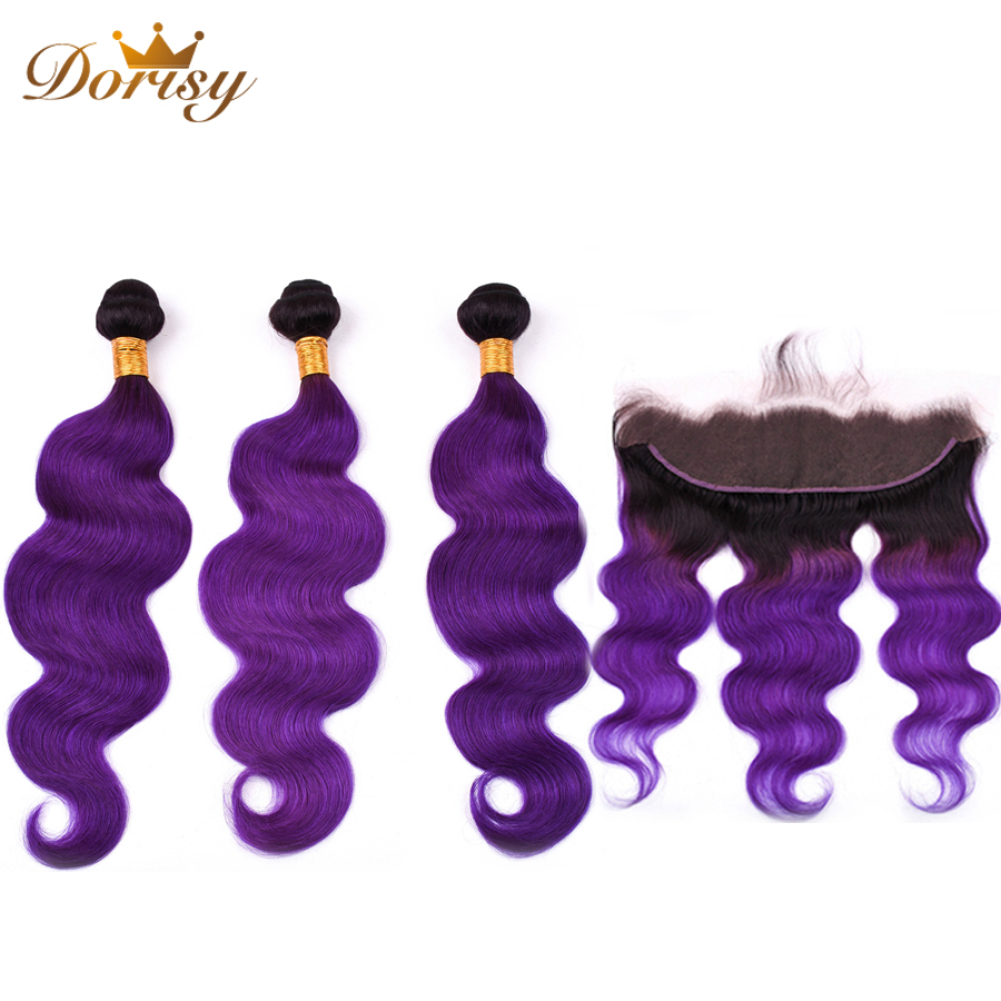 Body Wave Bundles With Frontal Lace Closure T1b Purple Ombre Human Hair Bundles With 13*4 Lace Frontal Malaysia Remy Hair