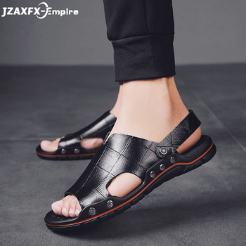 Men Sandals Genuine Split Leather Men Beach Shoes Brand Men Casual Shoes Men Slippers Sneakers Summer Shoes Flip Flops summer men shoes black men half slippers high quality men leather casual shoes loafers flip flops lightweight flats sandals