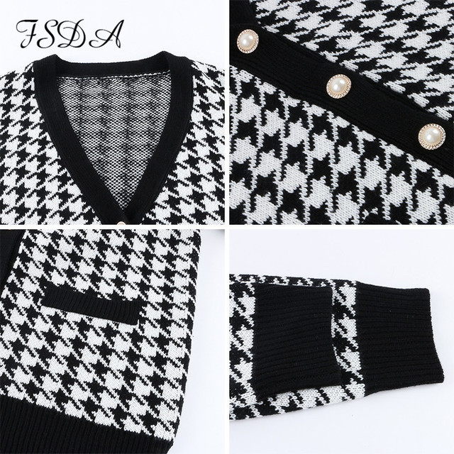 FSDA V Neck Women Button Black Houndstooth Cardigan 2020 Long Sleeve Sweater Autumn Winter Knitted Loose Oversized Jumper Casual 6