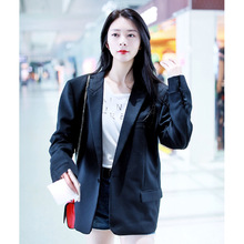 Star Same Double Row Black Suit 2019 Autumn New Fashion Commuting Coat Women Notched Women Jackets and Coats Suit