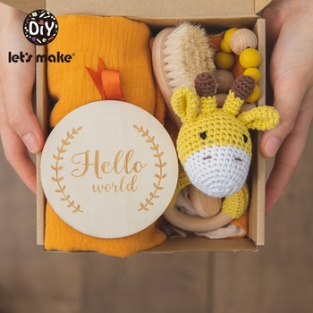 Let's Make Baby Bath Toy Set Double Sided Cotton Blanket Wooden Rattle Bracelet Crochet Toys Baby Bath Gift Products For Kids