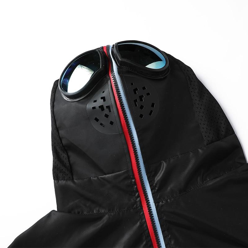 Zip Up Jacket Men Motorcycle Hooded with Glasses Mask Windbreaker Women Jackets Big Size 4xl Thin Summer Spring Autumn Korean
