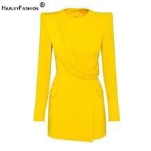 HarleyFashion European American High Street Lemon Yellow Mini Dress Designer Brief Slim Quality Long Stunning Dresses