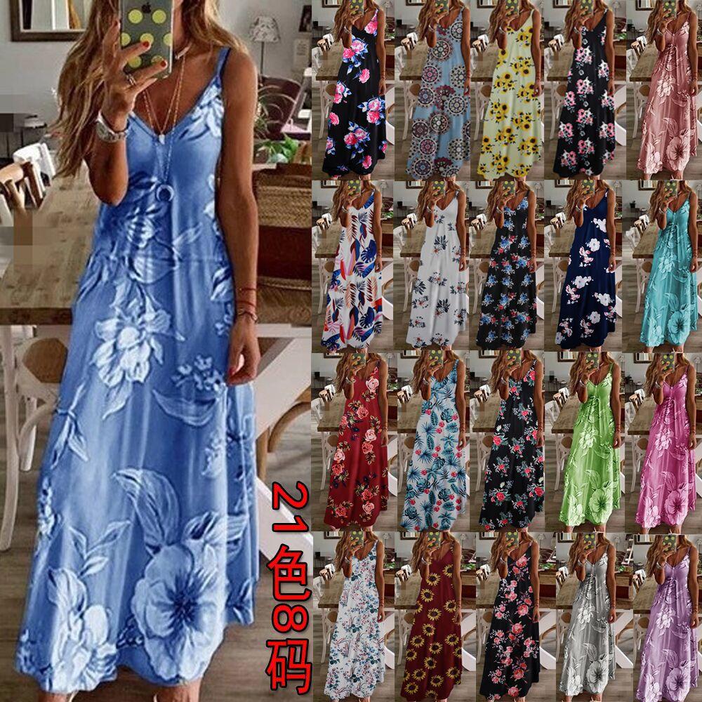 Women's Dress Bohemian Long Summer Casual Spaghetti Strap Slim A Line Dress Beach Flower Printed Dresses S-5XL Plus Size Tunic