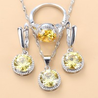 Charming Women Fashion Costume 925 Sterling Silver Yellow Zircon Round Jewelry Sets Dangle Earrings Necklace And Ring Sets Fashion Jewelry
