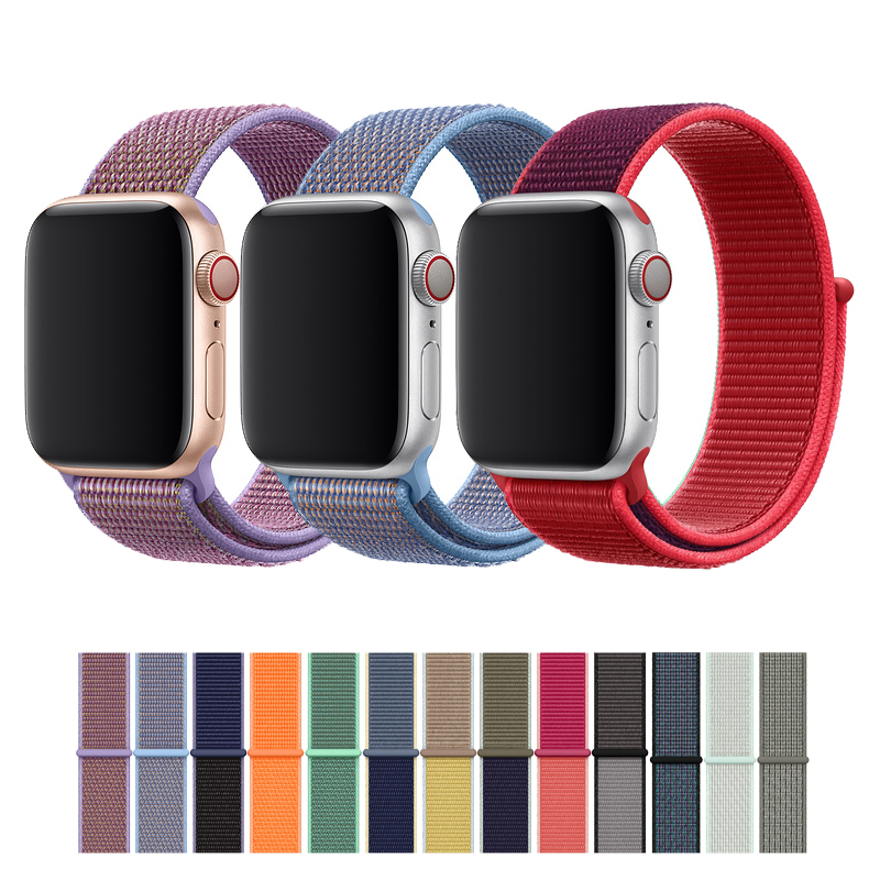 Sport Loop Strap For Apple Watch Band 42mm 38mm Double-layer Nylon Weave Watchband For Iwatch 5/4/3/2/1 44mm 40mm Bracelet