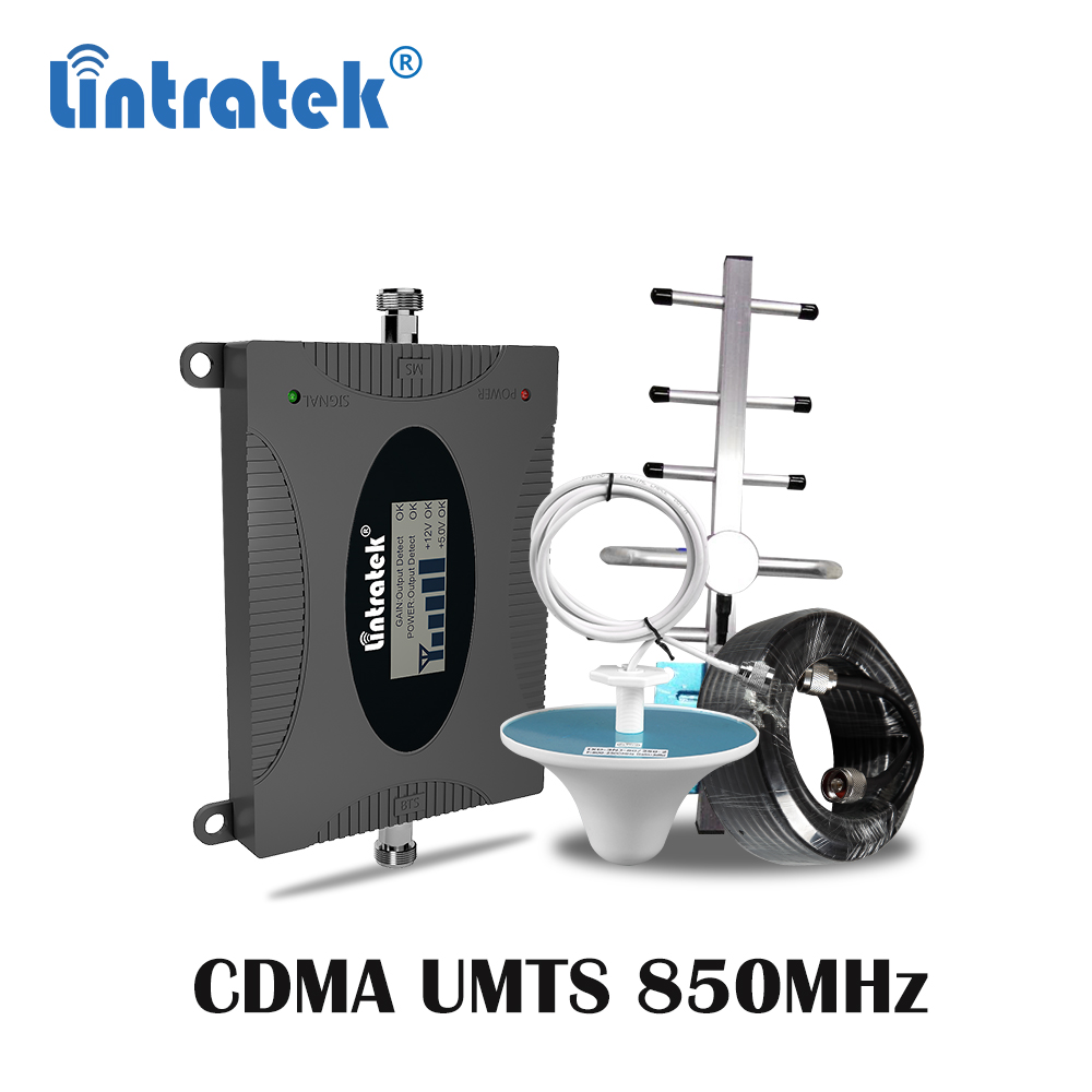 Lintratek LTE 850mhz CDMA GSM UMTS Celular Signal Booster 2g 3g 4g Cellular 850 Repeater Mobile Phone Amplifier Repetidor Set Ss
