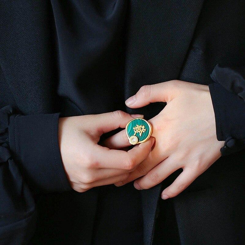 Faire une Fortune série cuivre plaqué or Malachite ronde carte anneau femelle Guochao Index bague large Version anneau
