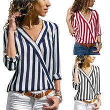 купить 2019 Women Striped Blouse Shirt Long Sleeve Blouse V-neck Shirts Casual Tops Blouse Chemisier Femme Blusas Mujer de Moda онлайн