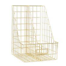 Nordic Iron Double Grid File Holder Desk Shelf Magazine Book Storage Organizer XXUC
