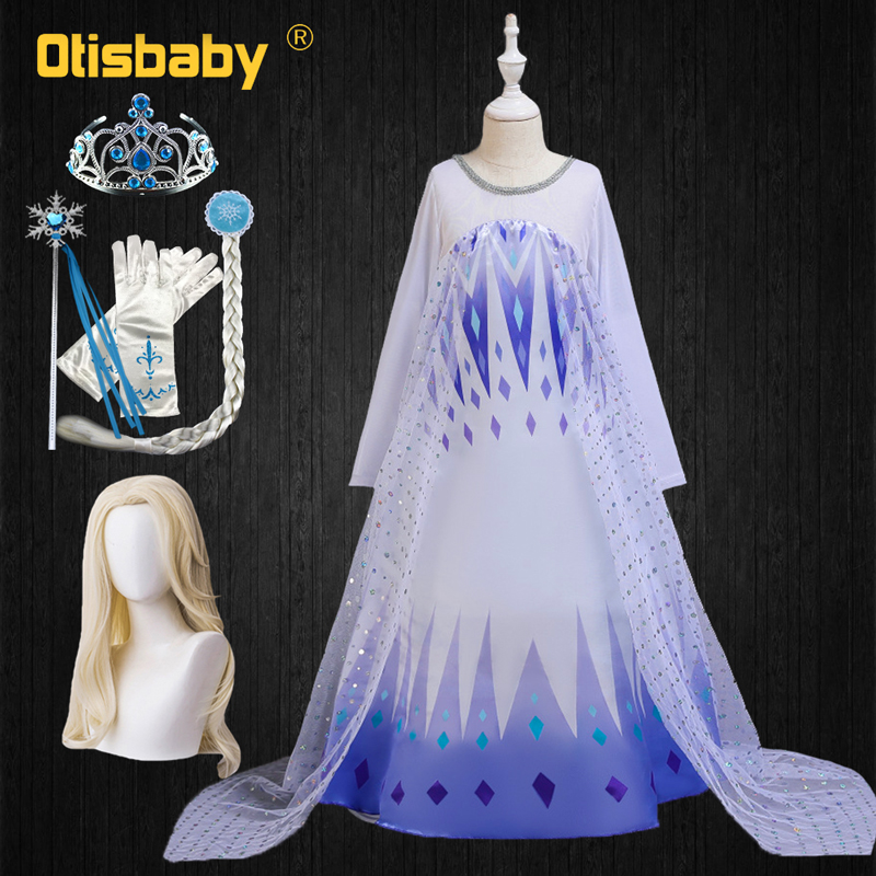 White Girls Elsa Dress Christmas Carnival Snow Queen Costume Child Fancy Elza Frocks Children Adults Elsa Wig Princess Dress Up