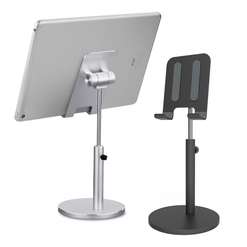 Aluminum Tablet Phone Stand Holder Adjustable Height Desktop Mobile Phone Stand for 4-11 Inch Phone IPad Pro 10.5 Living Mount
