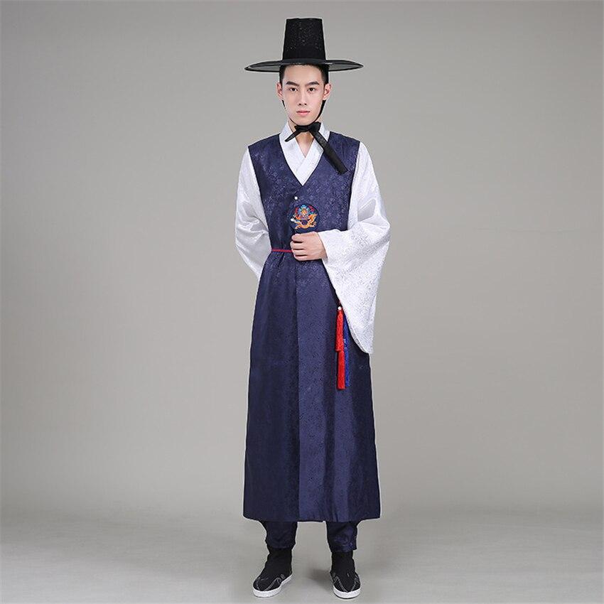 Koreanische Hanbok Orthodoxe Traditionellen Koreanischen Stil Hochzeit Kostüm Satin Männlichen Ethnische Kleidung für Männer Dance Kostüm Cosplay Kimono