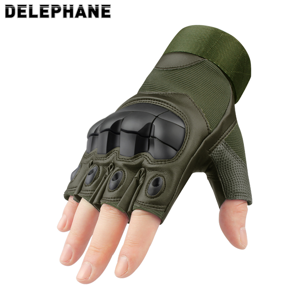 Summer PU Leather Tactical Fingerless Gloves Men Women Knuckles Protective Hand Driving Climbing Cycling Army Half Finger Glove