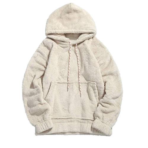 Unisex Men Women Fleece Teddy Bear Fleece Plain Hooded Sweatshirt Casual Pullover Hoodie Winter Warm Skateboard Sweatshirts