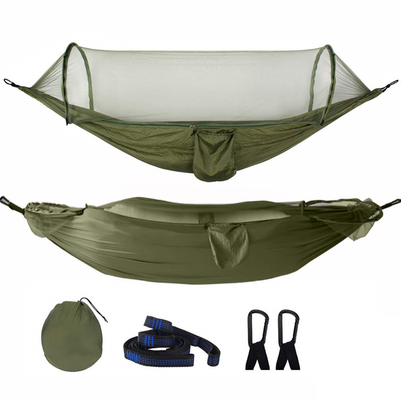 2019 Camping Hammock With Mosquito Net Pop-Up Light Portable Outdoor Parachute Hammocks Swing Sleeping Hammock Camping Stuff