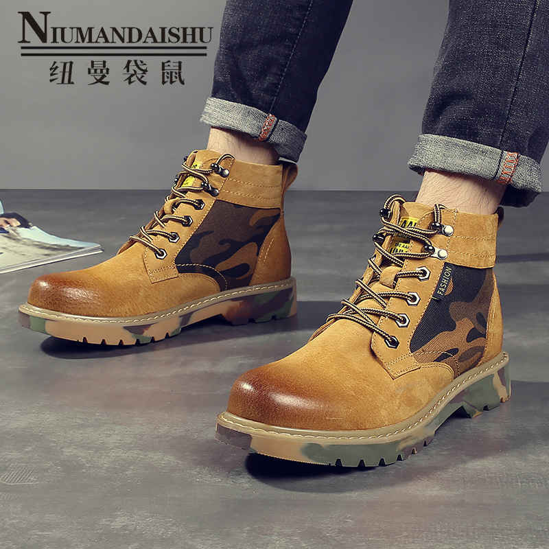 Matte leather Martin boots men's camouflage tendon bottom high to help leather tooling shoes men's round head boots casual shoes