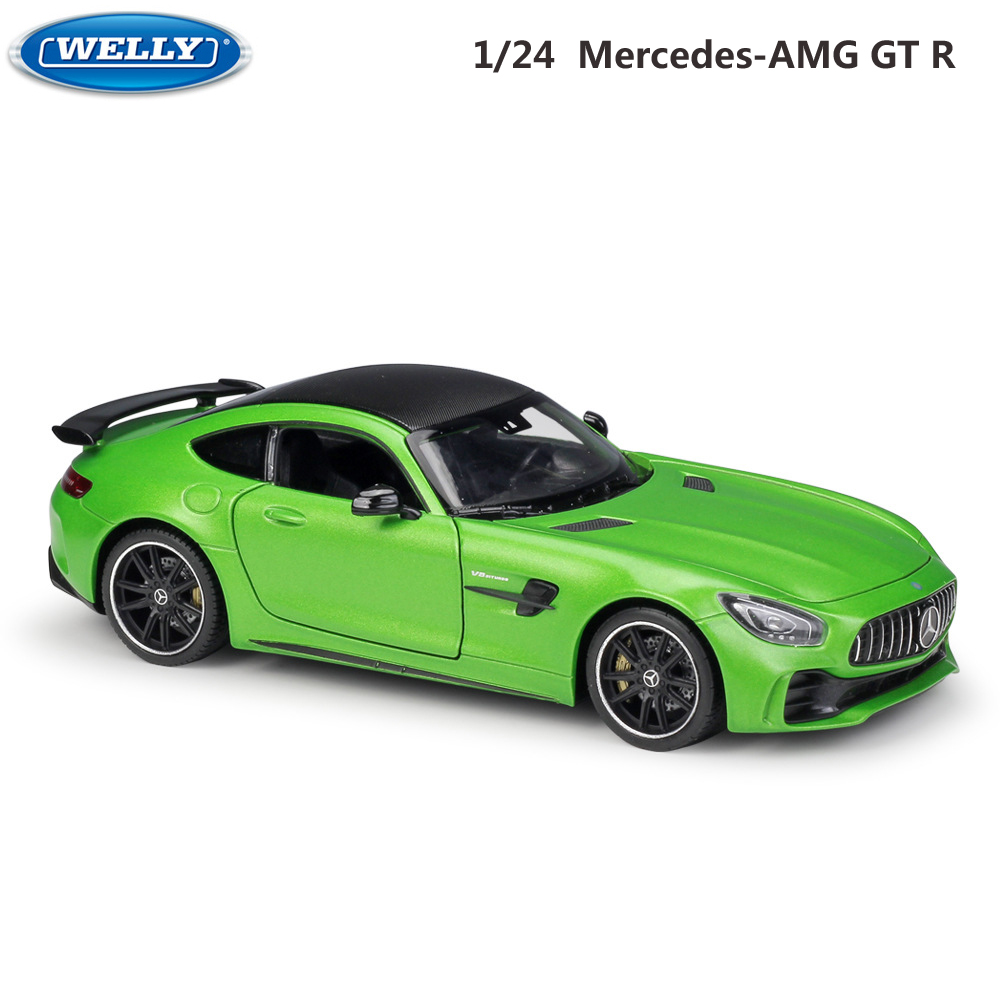 WELLY Model Car Diecast 1:24 Scale Alloy Racing Car Mercedes-Benz AMG GT R Sports Car Metal Toy Car For Kids Toy Gift Collection