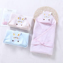 Six Layers Muslin Cotton Newborn Baby Swaddle With Rabbit  Hoodie Infant  Bath Towel Baby Multi-use Sleeping Blanket