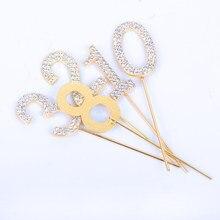 Toppers balão para decoração de bolo, garrafas elegantes de prata/ouro, bolo de aniversário, adulto 25th 30th 40th 50th presente para festa