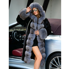 2021 Trendy Woman Mink Fur Coat Natural Outwear 100cm Long Black Mink Fur Coat with Fox Fur Lcollar Luxury Hooded Fur Overcoat
