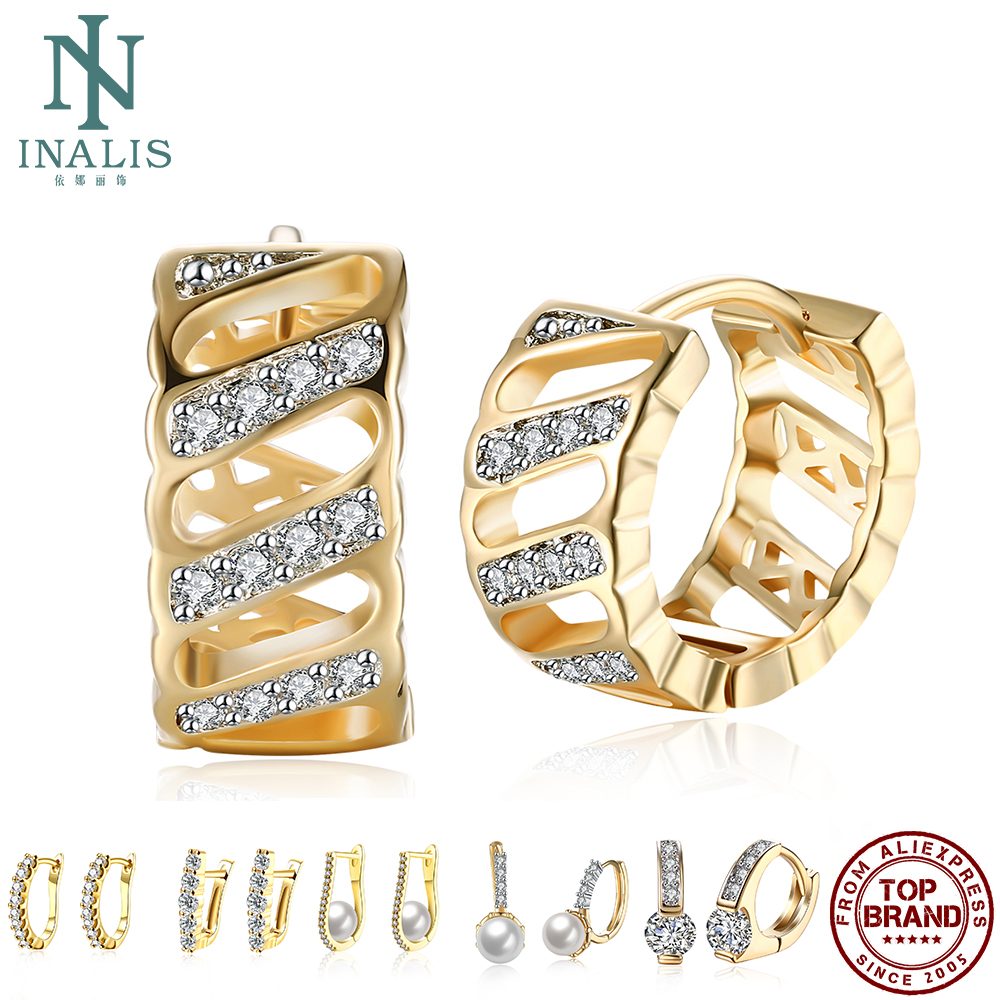 Copper Clip Earrings For Women Geometric Inlaid Zircon Errings Romantic Wedding Party Fine Jewelry Gift Gold Color Clip Earrings
