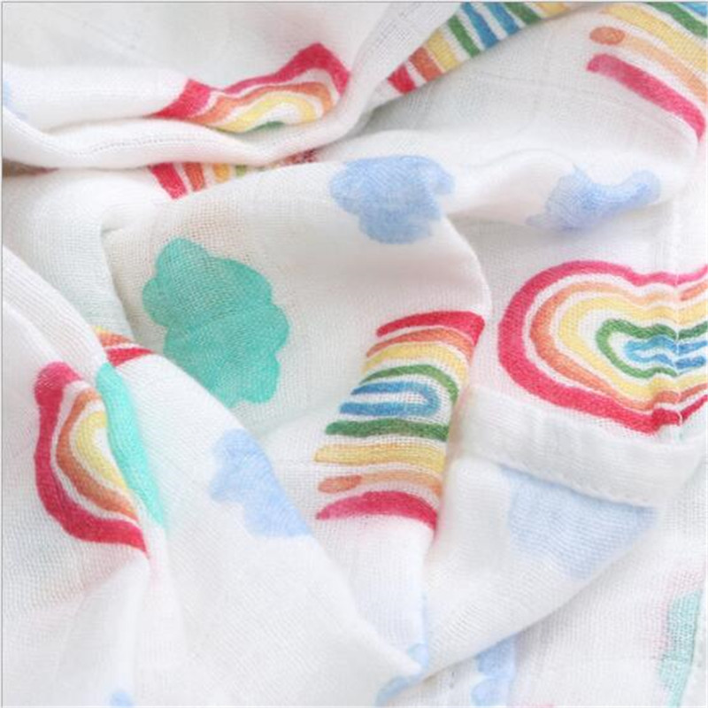 Bamboo Baby Blanket Cartoon Soft 70% Bamboo 30% Cotton Infant Printed Wrap Blankets Newborn Swaddle Rainbow Muslin Blanket