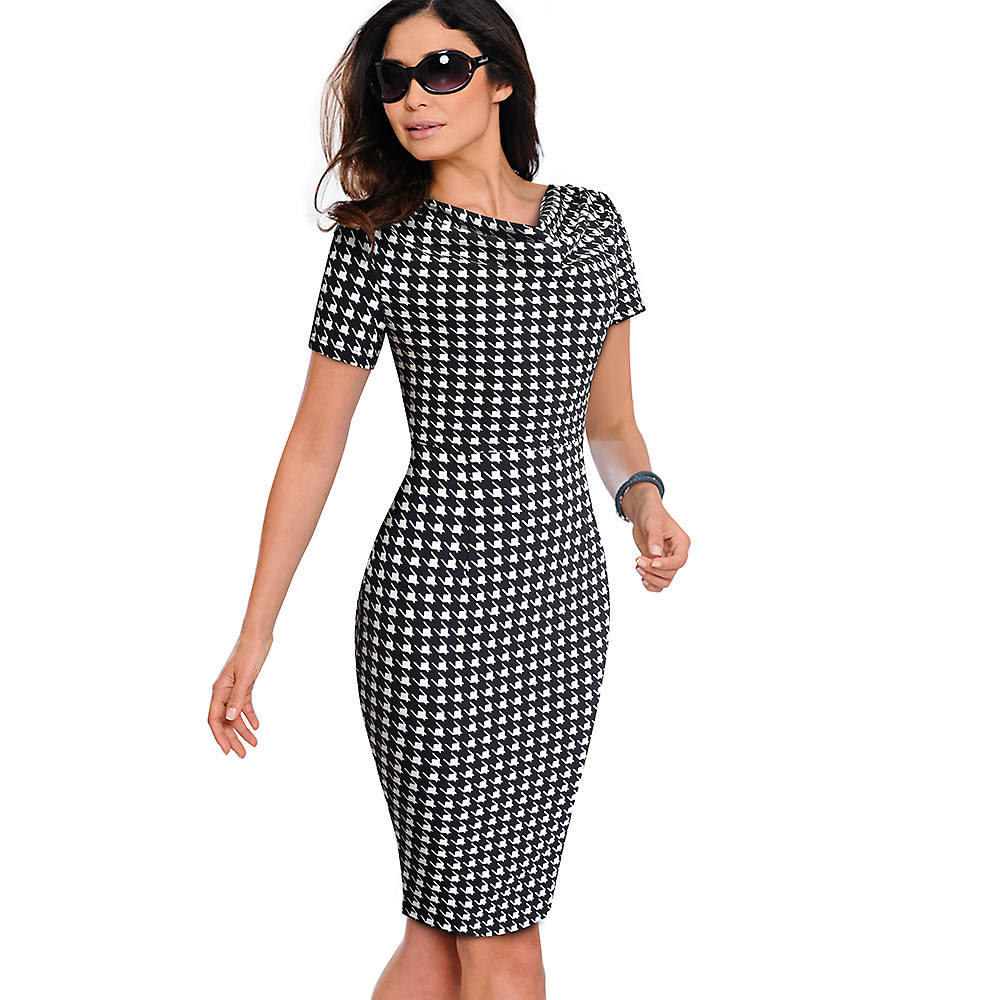 Nice-forever Women Vintage Wear to Work Elegant vestidos Business Party Bodycon Sheath Office Ruffle Female Dress B452 14