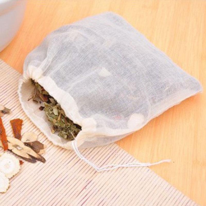 NEW Empty Tea Bag Food Cotton Drawstring Bag Strainer Tea Spice Separate Filter Bag For Drinking Tea Tools 50pcs/lot
