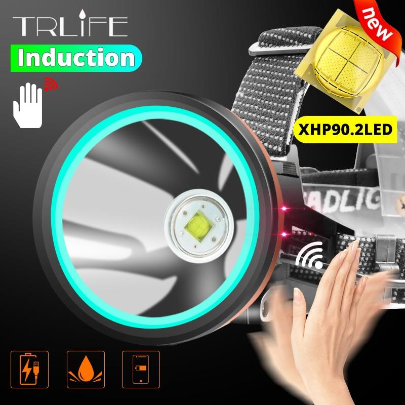 2020 NEWEST 8000lumens XHP-90.2 Sensor Headlamp Fishing Camping Headlight Lantern PowerHead Lamp USB Reachargeable Torches 18650