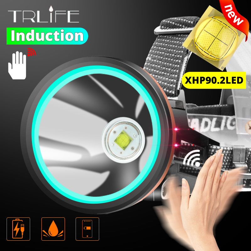 2020 más nuevo 8000 lúmenes XHP-90.2 Sensor Faro Pesca Camping linterna PowerHead Lámpara USB portátiles 18650