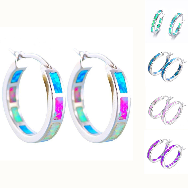 Classic Fashion Blue Fire Imitation Opal Hoop Earrings For Women Accessories Bridal Engagement Party Wedding Jewelry Girl Gift