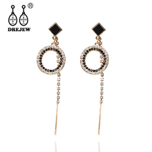 DREJEW Small Square Big Circle Geometric Statement Earrings 2019 Long Crystal Alloy Drop for Women Wedding Jewelry H366